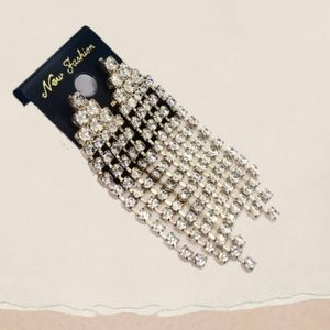 Dazzling Gold Tone Dangling Earrings w/Rhinestones